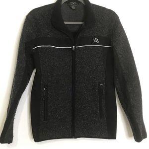 Solaris mens jacket wool blend full zip gray small